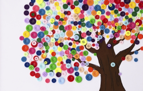 tree with colourful buttons
