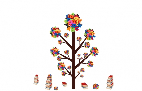 abstract tree with colourful letters and books